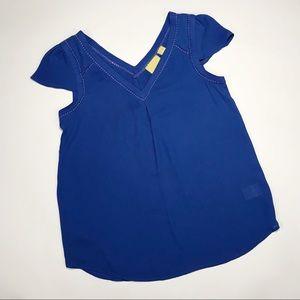 Anthropologie | Maeve Blue Cap Sleeve Blouse